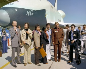 EC76 5806	 9/17/76	 Dr. Fletcher and Star Trek actors at Enterprise rollout